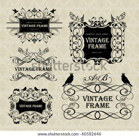 vintage frames with birds - stock vector