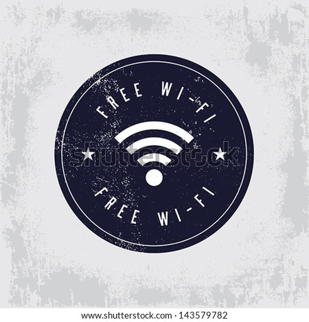 Vintage, free wi fi badge. - stock vector
