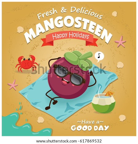 Vintage fruit poster beach design with mangosteen character.