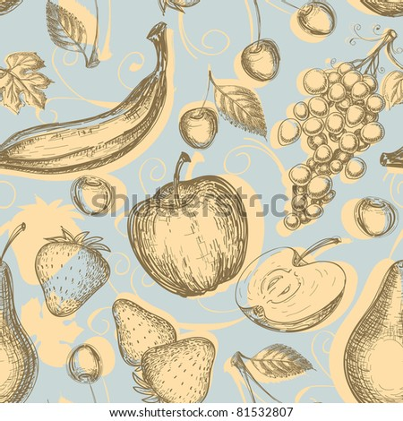 Vintage fruits seamless pattern - stock vector