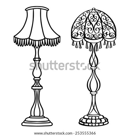 floor lamp drawing. vintage furniture set, floor lamps closeup, black lines, isolated on a white background lamp drawing f