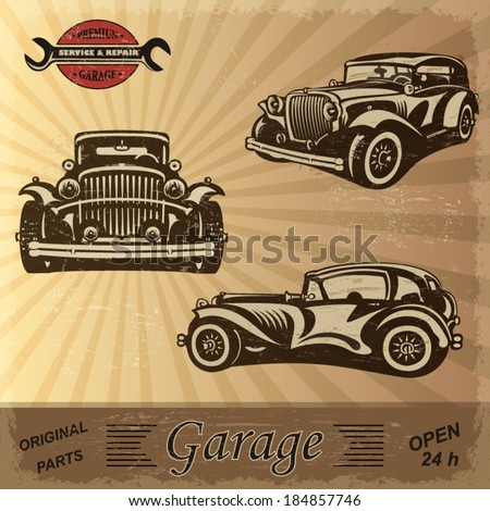 Vintage garage retro banner. - stock vector