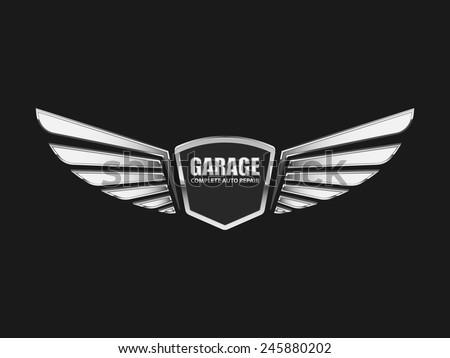 Vintage garage retro label design.vector - stock vector