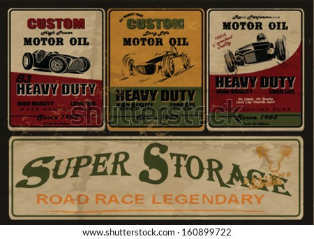 vintage gas & oil station sign.vintage power oil vector print. - stock vector