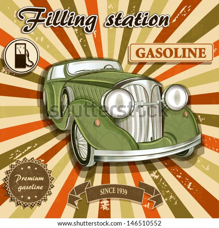 Vintage gas station retro poster - stock vector