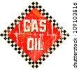 Vintage gas station sign, vector illustration - stock vector