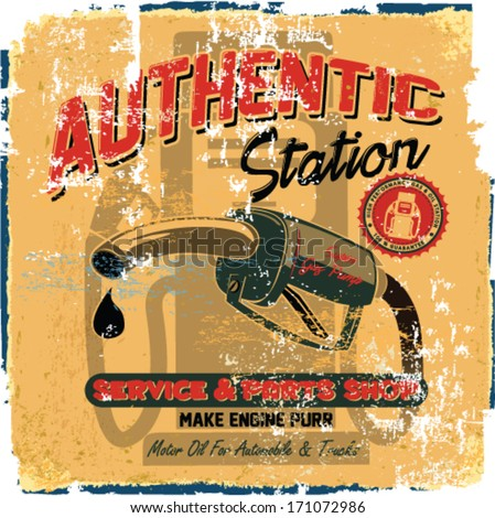 Vintage Gasoline,authentic gas pump vector illustration print. Vintage gasoline retro signs and labels. Gas station. - stock vector