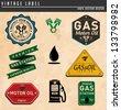 Vintage Gasoline & Motor oil - stock vector