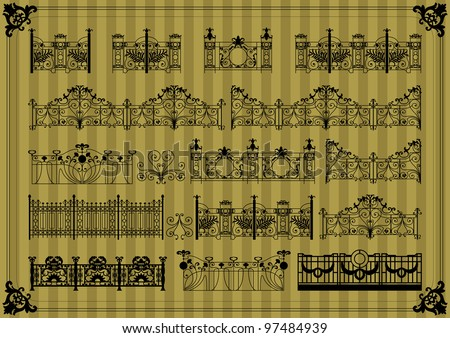 Vintage gate and fence detailed silhouettes illustration collection background vector - stock vector
