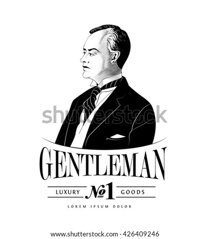 Vintage Gentleman Emblem - stock vector