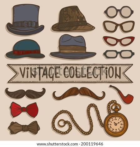 Vintage gentleman set of hats glasses mustaches and tobacco pipe stickers isolated vector illustration - stock vector