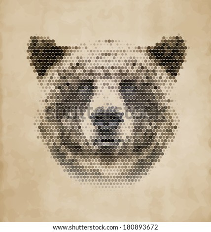 Vintage Geometric Bear Design - stock vector