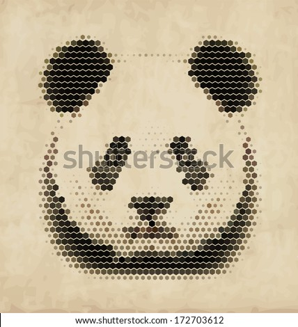 Vintage Geometric Panda Design - stock vector