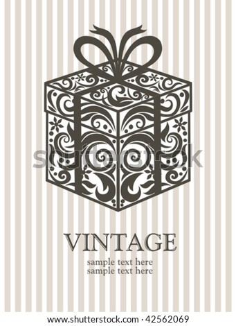Vintage gift box. - stock vector