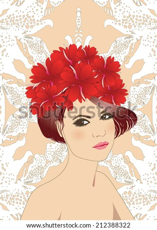 Vintage girl portrait  - stock vector