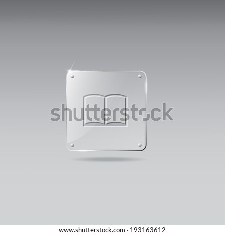 Vintage glass framework with open book icon - stock vector
