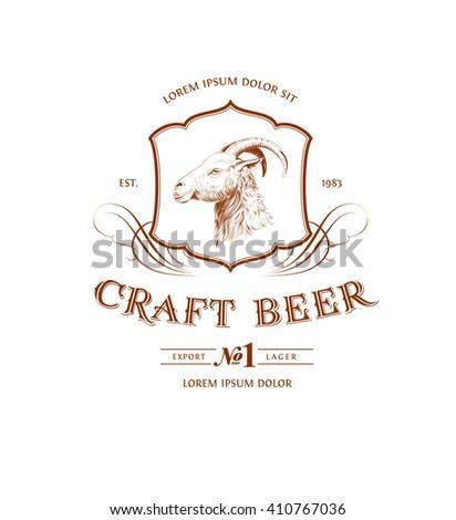 Vintage Goat Logo - stock vector