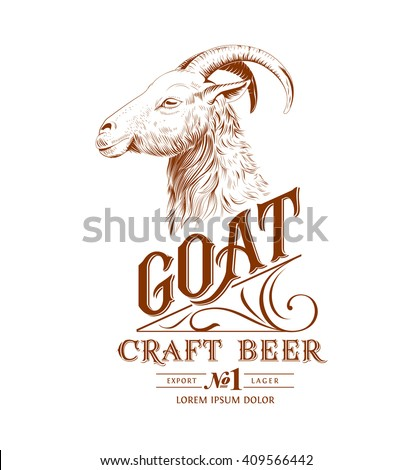 Vintage Goat Logo with Hand Lettering - stock vector