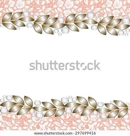 Vintage gold background, elegant jewelry border for wedding invitations, greetings cards
