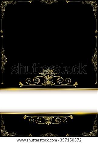 Vintage Gold Background Vector Antique Frame Stock Vector 357150572 ...