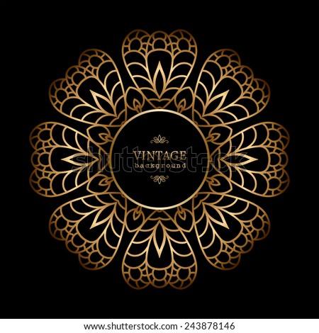 Vintage gold background, vector circle frame on black - stock vector