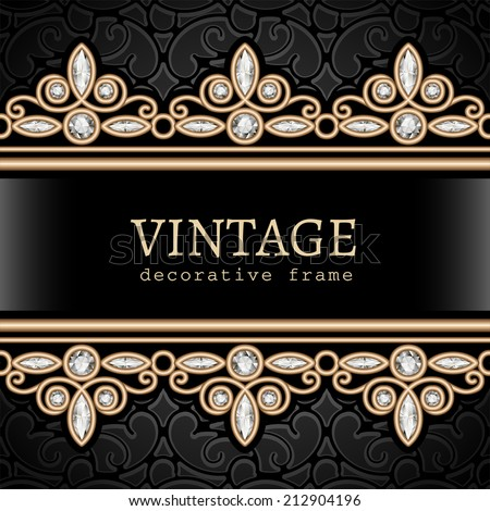 Vintage gold background, vector jewelry frame with seamless borders, eps10 - stock vector