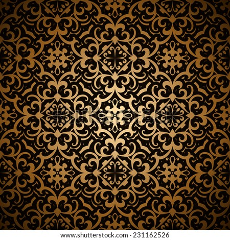 Vintage gold background, vector seamless pattern, abstract floral ornament - stock vector