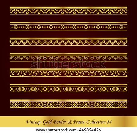 Vintage Gold Border Frame Vector Collection 84 - stock vector