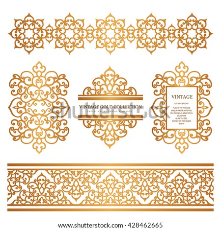 Vintage Gold Borders Frames Set Decorative Stock Vector 428462665 ...