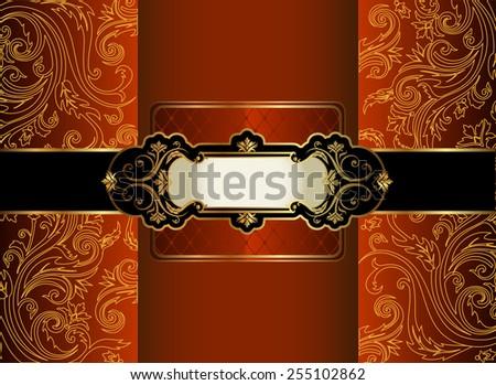 Vintage gold frame  - stock vector
