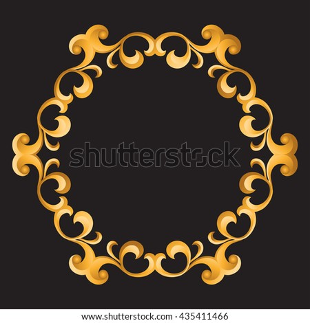 Vintage Gold Frame. Decorative vector frame with place for text.  - stock vector
