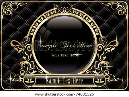 Vintage gold frame design - stock vector