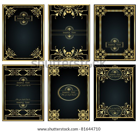 vintage gold frame designs can be use for book cover - stock vector