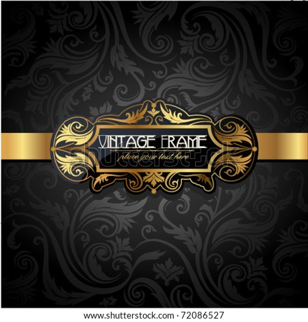 Vintage gold frame on black floral background. Vector illustration. - stock vector
