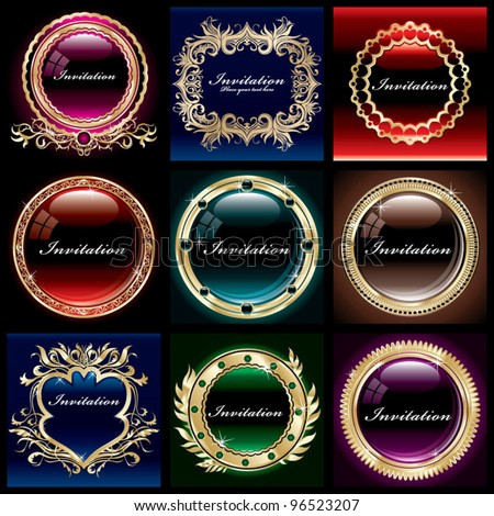 Vintage Gold frame set - stock vector