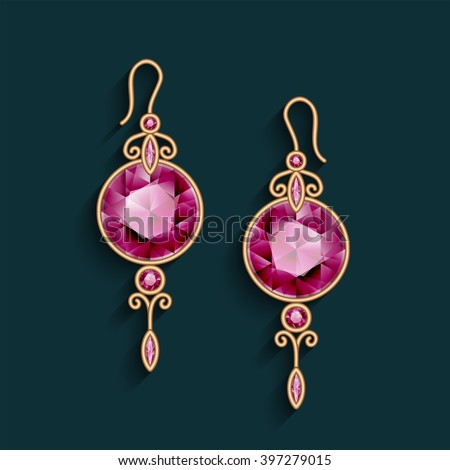 Vintage Gold Jewelry Earrings Ruby Gemstones Stock Vector