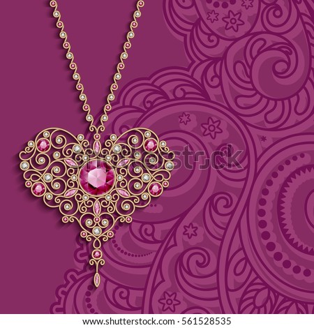 Vintage Gold Jewelry Pendant Shape Heart Stock Vector 2018