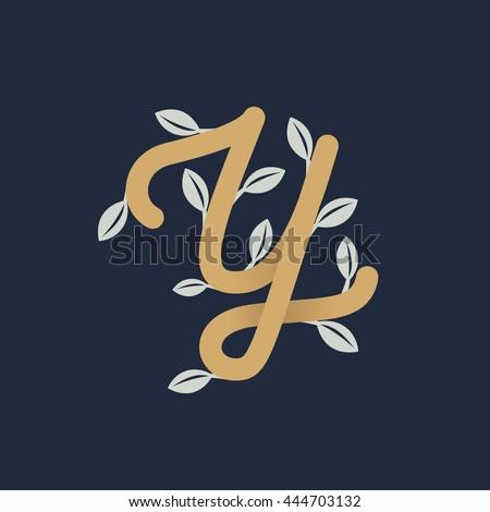 Vintage gold letter y logo silver stock vector hd royalty free vintage gold letter y logo with silver leaves retro vector design for banner presentation altavistaventures Image collections