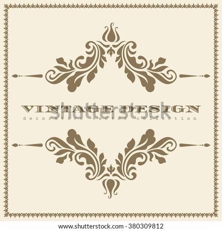 Vintage gold ornamental frame with floral decorative elements, divider, header, vector greeting card or invitation template - stock vector