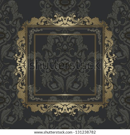 Vintage Gold Picture Frame On Damask Vector de stock131238782 ...