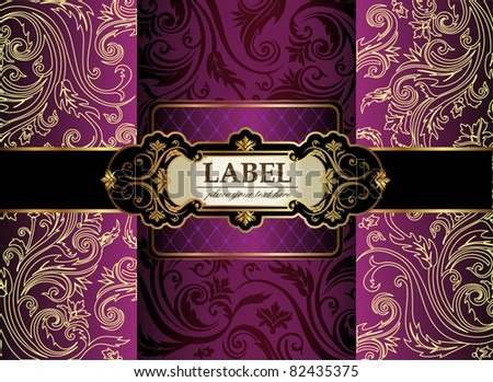 Vintage gold & purple luxury decorative ornate background - stock vector