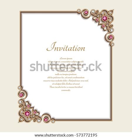 Vintage gold rectangle frame jewelry corner stock vector 573772195 vintage gold rectangle frame with jewelry corner ornament elegant vector decoration wedding announcement or stopboris Choice Image