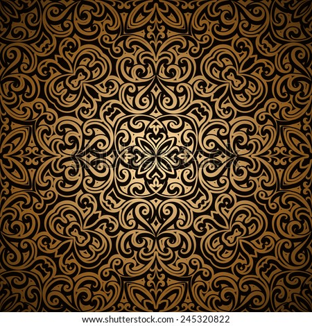 Vintage gold seamless pattern, ornamental vector background - stock vector