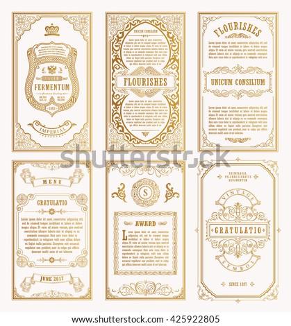 Vintage gold vector set retro cards stock vector 2018 425922805 vintage gold vector set retro cards template greeting card wedding invitation line calligraphic frames stopboris Image collections