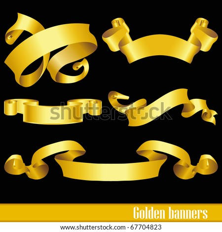 vintage golden banners isolated on black background - stock vector