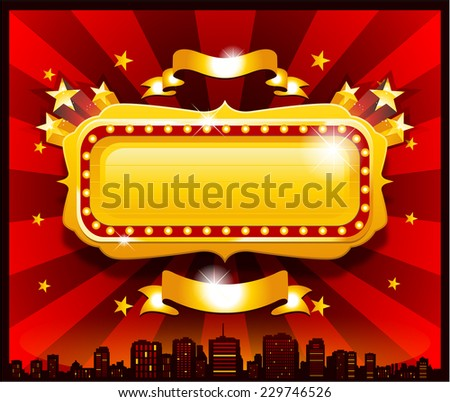 Vintage golden circus casino banner sign - stock vector
