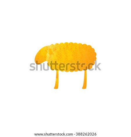 Vintage golden colored sheep isolated on white background. Logo template, design element - stock vector