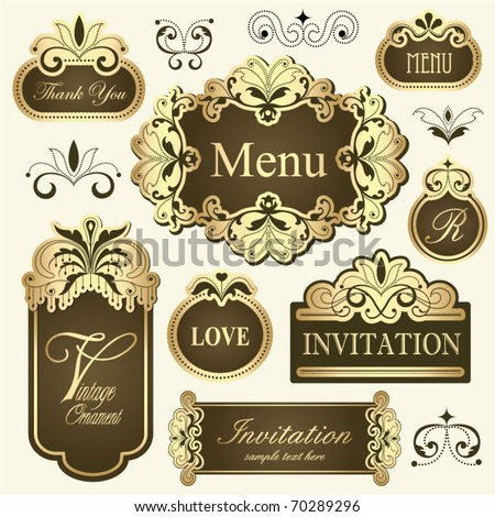 vintage golden frames for invitation cards, thank you cards, menu, label design & etc... - stock vector