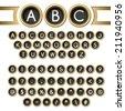 Vintage golden typewriter buttons alphabet - stock vector