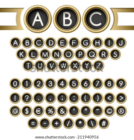 Vintage golden typewriter buttons alphabet - stock vector